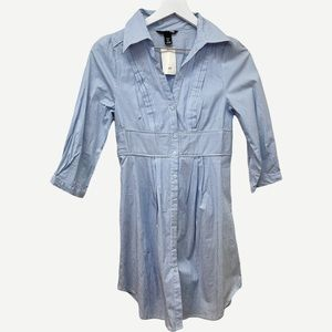 New H&M Blue Striped Shirt Dress 4